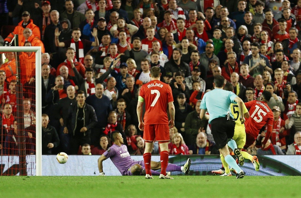 Daniel Sturridge of Liverpool scores his goal to make it 2-0 during the UEFA Europa League semi final second leg football match between Liverpool and Villarreal on May 5, 2016 played at Anfield stadium in Liverpool, England - Photo Matt West / Backpage Images / DPPI