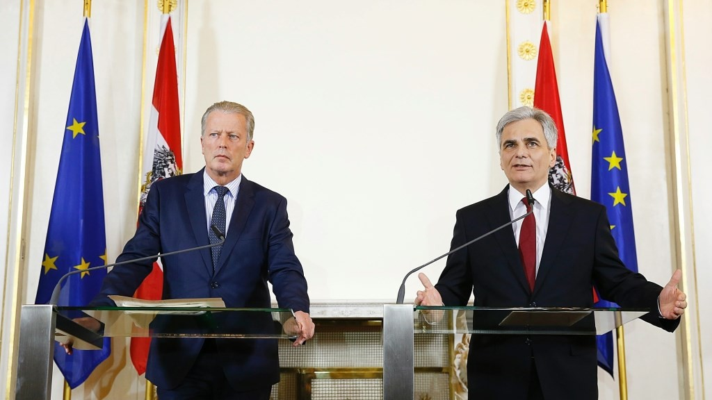 VIENNA, AUSTRIA - MARCH 14: Austrian Prime Minister Werner Faymann (R) and Deputy Prime Minister Reinhold Mitterlehner hold a press conference about tax reform at presidency building in Vienna, Austria, on March 13, 2015. Andy Wenzel/Pool/Austrian Prime Ministry / Anadolu Agency