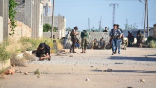 ALEPPO, SYRIA - MAY 18: Syrian oppositions loyal to al-Mutassim Brigade attack Daesh positions to take control of Cariz town from Daesh terrorists at Azaz town of Aleppo, Syria on May 18, 2016. Huseyin Nasir / Anadolu Agency