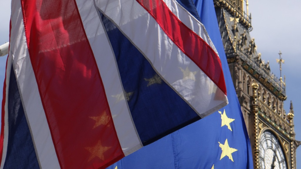 UNITED KINGDOM, London: Union Jack flag and European flag wave in front of Big Ben tower in London, UK, on May 8, 2016. British will have to vote on June 23 in a referendum which will decide wether Britain remains in or leaves the EU. - Staisy Mishchenko