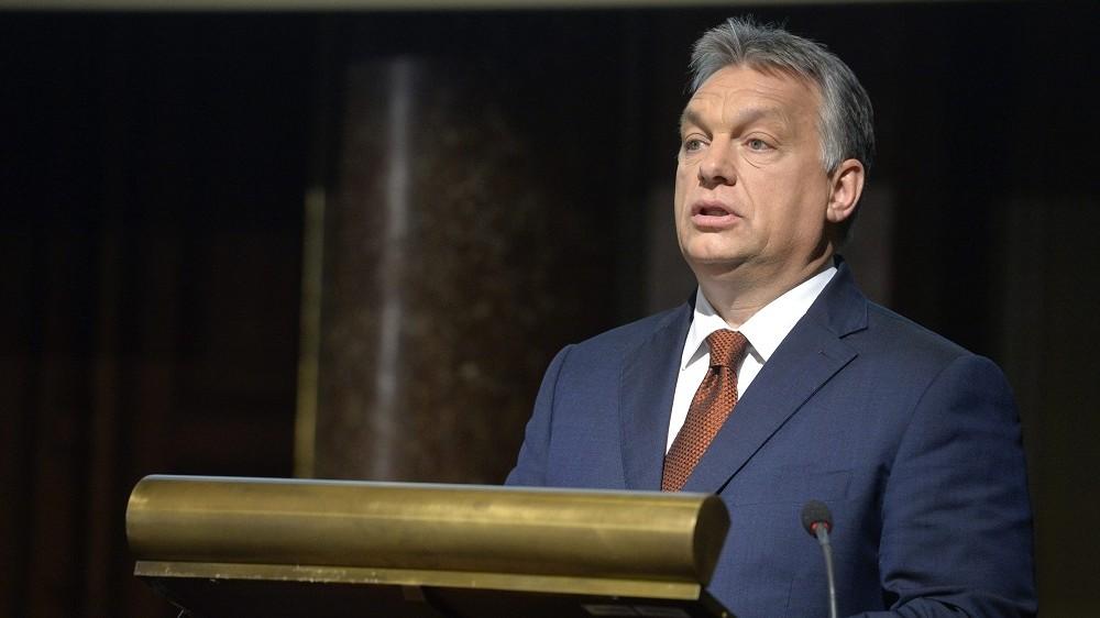 Budapest, 2016. május 2. Orbán Viktor miniszterelnök beszédet mond a Magyar Tudományos Akadémia (MTA) 187. rendes közgyûlésén az MTA dísztermében 2016. május 2-án. MTI Fotó: Koszticsák Szilárd