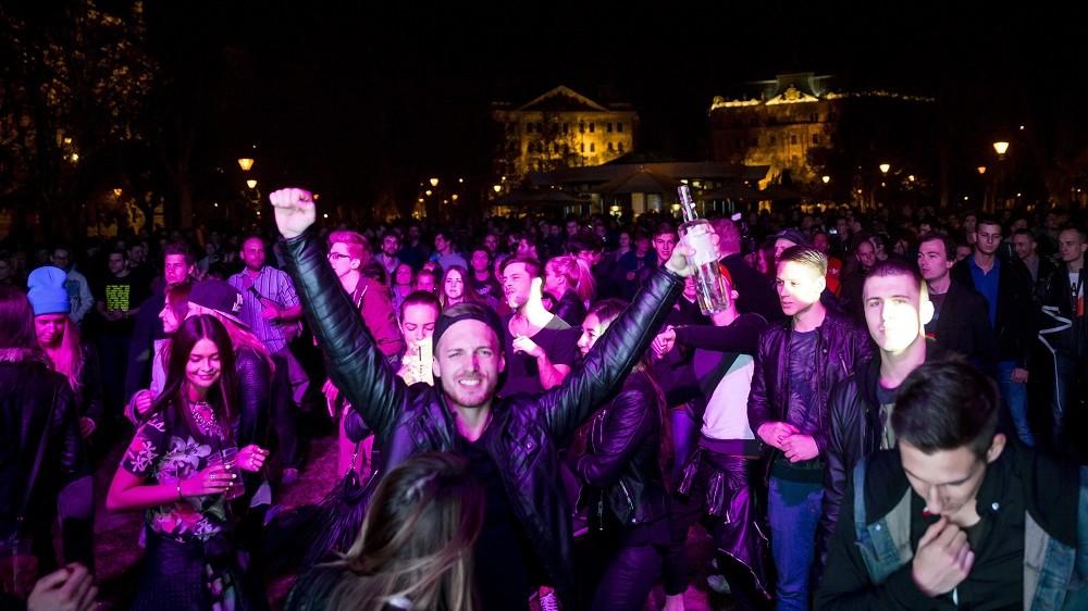 Budapest, 2014. április 6. A Több Technót a Parlamentbe mozgalom demonstrációja az V. kerületi Szabadság téren 2014. április 6-án. MTI Fotó: Mohai Balázs