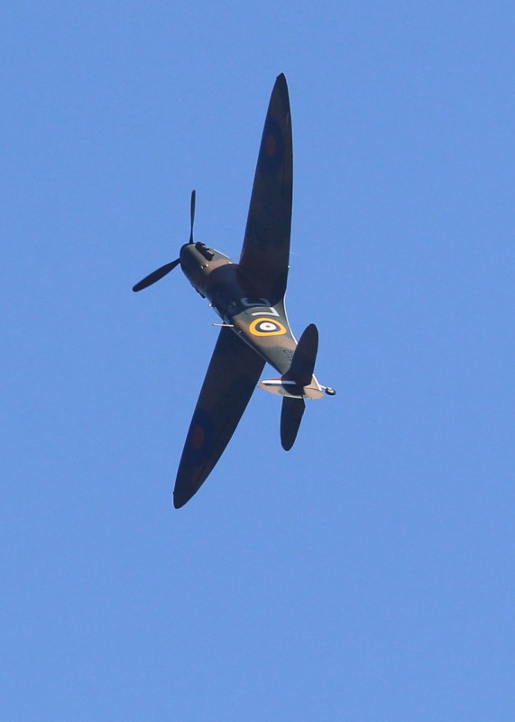 A lone spitfire climbs above the beach of 'Dunkirk' in the exact spot where 76 years ago today, 100,000 soldiers were evacuated. Christopher Nolan directs the movie Dunkirk on the anniversary.Featuring: AtmosphereWhere: Dunkirk, FranceWhen: 26 May 2016Credit: WENN.com