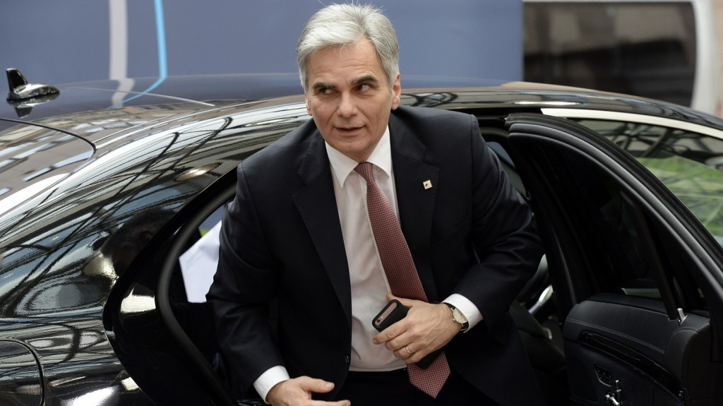 Austrian Prime Minister Werner Faymann is seen arriving to attend the second day of an European Union Summit held at the EU Council building in Brussels, on March 18, 2016.  / AFP PHOTO / THIERRY CHARLIER