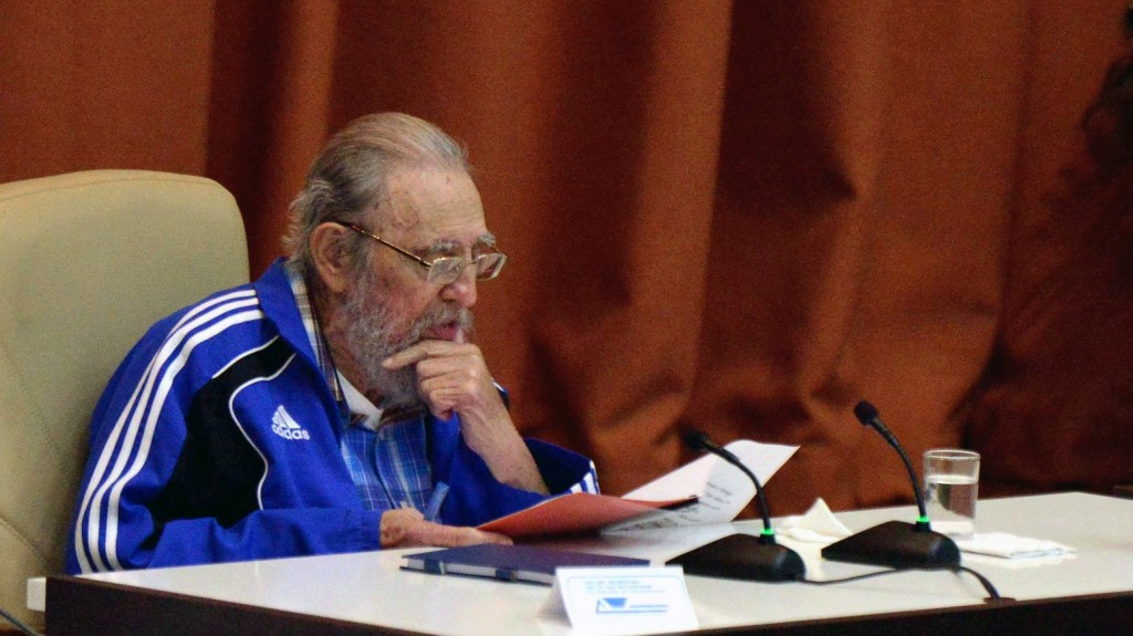 """Handout picture released by Cuban Agency ACN showing Cuban Former President Fidel Castro speaking during the closing ceremony of VII Congress of Cuban Communist Party (PCC) at Convention Palace in Havana, on April 19, 2016. """"Cuba will never permit the application of so-called shock therapies, which are frequently applied to the detriment of society's most humble classes,"""" said Raul Castro in a lengthy speech opening the congress, which takes place every five years and will stretch on for several days. / AFP PHOTO / ACN / OMARA GARCIA MEDEROS / RESTRICTED TO EDITORIAL USE - MANDATORY CREDIT """"AFP PHOTO / AGENCIA CUBANA DE NOTICIAS"""" - NO MARKETING NO ADVERTISING CAMPAIGNS - DISTRIBUTED AS A SERVICE TO CLIENTS"""