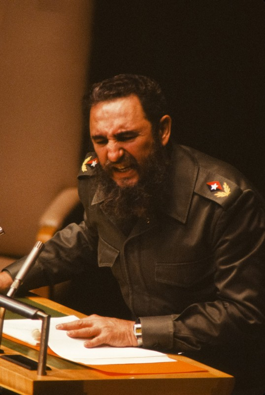 Cuban guerilla leader and president Fidel Castro addresses the 34th General Assembly of the United Nations, New York, New York, October 12, 1979. (Photo by Chuck Fishman/Getty Images)