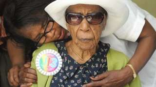 Miss Susie Susannah Mushatt Jones with her niece Lois Judge,72, as they celebrate her 113th birthday with a party at the Vendalia Senior Center in Brooklyn. Miss Susie was born on July 6, 1899 in Alabama, the third of eleven children. She is the only one still alive. She never had children  but has more than 100 nieces and nephews. (Photo By: Debbie Egan-Chin/NY Daily News via Getty Images)