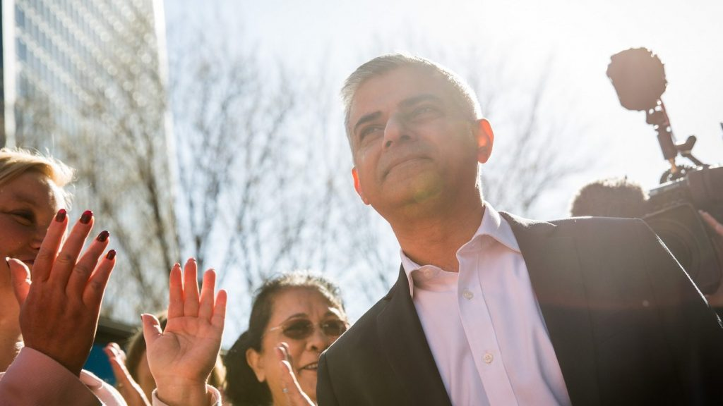 LONDON, ENGLAND - MAY 04:  Labour's London Mayoral candidate Sadiq Khan and member of Parliament for Tooting speaks to supporters in Montgomery Square in Canary Wharf on May 4, 2016 in London, England.  Londoners will go to the polls tomorrow to vote for Mayor Of London with Labour's candidate expected to beat Conservative Party rival Zac Goldsmith to the position.  (Photo by Rob Stothard/Getty Images)