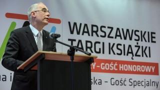 Varsó, 2016. május 19. Balog Zoltán, az emberi erõforrások minisztere beszél a Varsói Nemzetközi Könyvvásár hivatalos megnyitóján 2016. május 19-én. Az idei könyves seregszemlének, amelyen 24 ország mintegy 800 kiállítója vesz részt, Magyarország a díszvendége. Katalónia a fesztivál különvendégeként szerepel. (MTI/PAP/Marcin Obara)