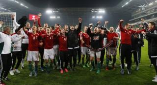 Budapest 20151115 Labdarúgás 2015 Ősz Európa bajnoki EB pótselejtező Magyarország Norvégia    csapat öröm