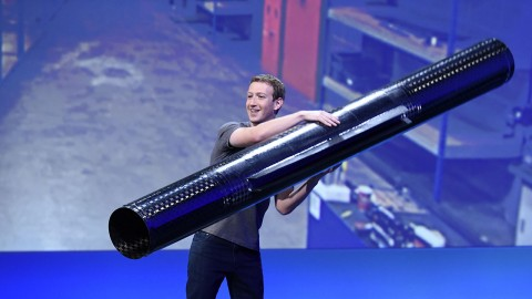Mark Zuckerberg, founder and chief executive officer of Facebook Inc., holds a propeller pod for Aquila, the company's unmanned aircraft that will be used to deliver wifi to developing nations, while speaking at the Facebook F8 Developers Conference in San Francisco, California, U.S., on Tuesday, April 12, 2016. Zuckerberg outlined a 10-year plan to alter the way people interact with each other and the brands that keep advertising dollars rolling at the world's largest social network. Photographer: Michael Short/Bloomberg via Getty Images