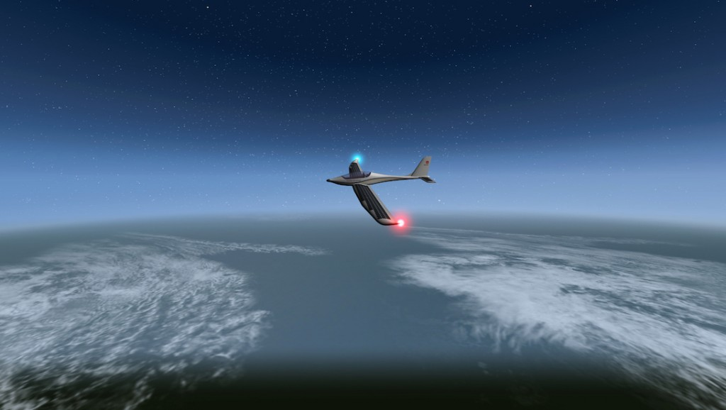 """A handout picture released on November 20, 2014 by SolarStratos project shows a computer art rendering of SolarStratos aircraft prototype flying. Raphael Domjan, a Swiss adventurer who was the first to sail around the world in 2012 with a boat powered only by solar energy, said Thursday it had obtained funding for a stratospheric flight with a small solar plane.      AFP PHOTO / SOLARSTRATOS  RESTRICTED TO EDITORIAL USE - MANDATORY CREDIT """"AFP PHOTO / SOLARSTRATOS""""- NO MARKETING, NO ADVERTISING CAMPAIGNS, NO SALE - DISTRIBUTED AS A SERVICE TO CLIENT / AFP PHOTO / SOLARSTRATOS / Handout"""