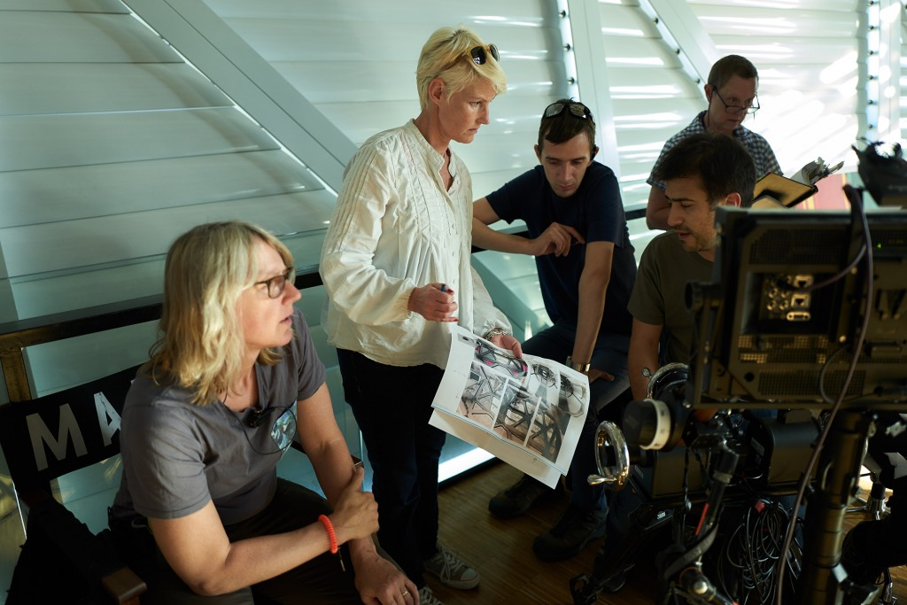 Production Designer Sophie Becher, second from left, on the set of MARS in Budapest.  (photo credit:  National Geographic Channels/Robert Viglasky)