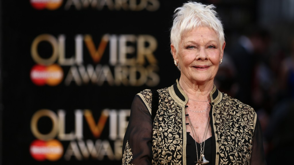 British actress Judi Dench poses on the red carpet upon arrival to attend the 2016  Laurence Olivier Awards in London on April 3, 2016. / AFP PHOTO / JUSTIN TALLIS