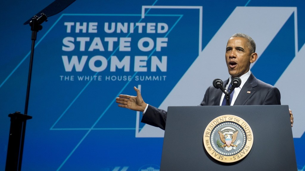 US President Barack Obama speaks during the United State of Women Summit at the Washington Convention Center in Washington, DC, June 14, 2016. / AFP PHOTO / SAUL LOEB