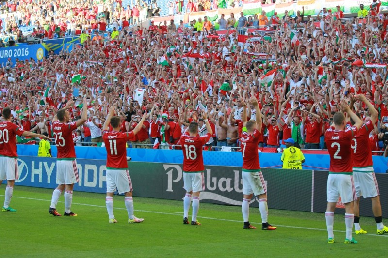 2879085 06/22/2016 Hungary players say thank you to fans after a group stage match of UEFA Euro 2016 between Hungary and Portugal. Vitaliy Belousov/Sputnik