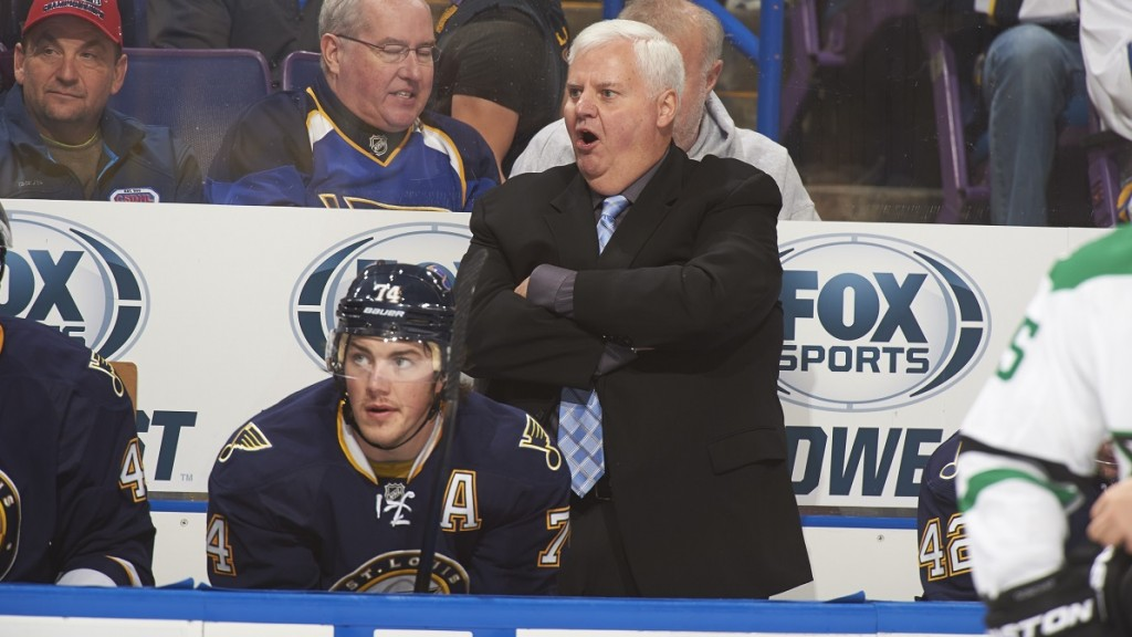 Hockey: St. Louis Blues coach Ken Hitchcock behind his players on bench during game vs Dallas Stars at Scottrade Center.  St. Louis, MO 11/23/2013 CREDIT: David E. Klutho (Photo by David E. Klutho /Sports Illustrated/Getty Images) (Set Number: X157257 TK1 R2 F62 )