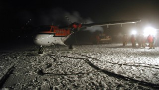 388372 02: File Photo: The Aircraft And Crew Of The Twin Otter Arrive At The Nsf's Amundsen-Scott South Pole Station To Provide Medical Supplies April 24, 2001 For The First Part Of A Dangerous Mission To Rescue Dr. Ronald Shemenski Who Is Suffering From A Potentially Life-Threatening Gall Bladder Ailment. After Successfully Rescuing The Ailing American Doctor From The Icy South Pole, The Plane Then Brought Him To Safety In Punta Arenas, Chile, April 26, 2001.  (Photo By Getty Images)