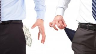 one businessmen grasp money , one pocket empty