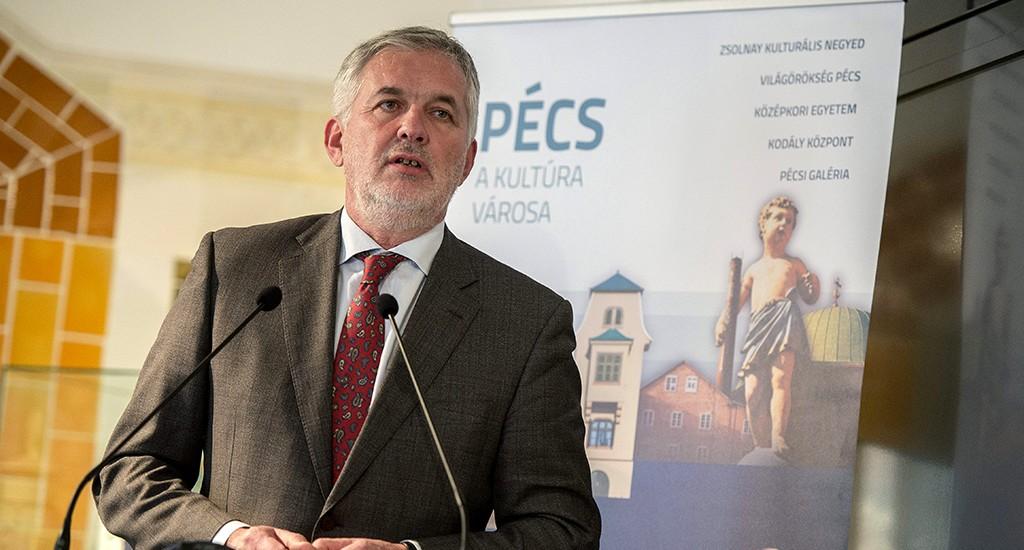 Pécs, 2016. január 15.Páva Zsolt, Pécs polgármestere beszél a Magyarország 2023 - Európa kulturális fővárosa pályázatról tartott sajtótájékoztatón a pécsi Zsolnay Kulturális Negyedben 2016. január 15-én.MTI Fotó: Sóki Tamás
