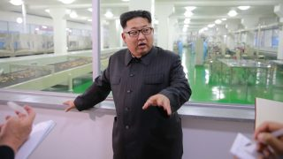"""This undated picture released from North Korea's official Korean Central News Agency (KCNA) on June 16, 2016 shows North Korean leader Kim Jong-Un inspecting the Pyongyang cornstarch factory in Pyongyang. / AFP PHOTO / KCNA VIA KNS / KCNA /  - South Korea OUT / REPUBLIC OF KOREA OUT   ---EDITORS NOTE--- RESTRICTED TO EDITORIAL USE - MANDATORY CREDIT """"AFP PHOTO/KCNA VIA KNS"""" - NO MARKETING NO ADVERTISING CAMPAIGNS - DISTRIBUTED AS A SERVICE TO CLIENTS THIS PICTURE WAS MADE AVAILABLE BY A THIRD PARTY. AFP CAN NOT INDEPENDENTLY VERIFY THE AUTHENTICITY, LOCATION, DATE AND CONTENT OF THIS IMAGE. THIS PHOTO IS DISTRIBUTED EXACTLY AS RECEIVED BY AFP.  /"""