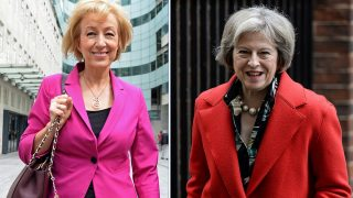(FILES) (COMBO) This combination of pictures created on July 5, 2016 shows the two remaining candidates for the Conservative leadership (L-R) Andrea Leadsom leaving the BBC television centre in London on July 3, 2016 and British Home Secretary Theresa May leaving 10 Downing Street in London on February 22, 2016. Conservative lawmakers in Britain Thursday selected interior minister Theresa May and junior energy minsiter Andrea Leadsom as the two candidates to be prime minister and the choice will now go to party members. May won 199 votes out of the party's 329 MPs, while Leadsom won 84 votes, a party official said, meaning third challenger Michael Gove -- Britain's justice minister -- has been rejected.  / AFP PHOTO / CHRIS J RATCLIFFE / XGTY