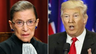 """(COMBO) This combination of pictures created on July 13, 2016 shows US Supreme Court Associate Justice Ruth Bader Ginsburg (L) in Washington, DC, on October 8, 2010 and Republican presidential nominee Donald Trump in New York on June 22, 2016.  Trump called on July 13, 2016, for the resignation of the Ginsburg, charging that her """"mind is shot"""" after the 83-year-old branded him a """"faker."""" It is exceptional for a US Supreme Court justice to speak openly about politics and their political preferences. But Ginsburg dropped all pretenses of reserve in two interviews she gave recently and which have caused a sensation.  / AFP PHOTO / TIM SLOAN AND KENA BETANCUR"""
