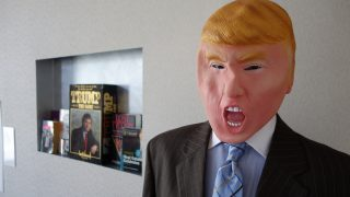 A figure representing Donald Trump is on display at a so-called 'Trump Museum' in Cleveland on July 19, 2016.                   Democratic 'Super PAC', 'American Bridge' organisation has set up to spotlight aspects of Donald Trump's life which the Republican Convention would rather keep quiet.  / AFP PHOTO / William EDWARDS