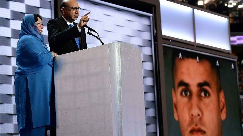 Khizr Khan, whose son Humayun S. M. Khan was one of 14 US Muslims who died serving the United States in the ten years after 9/11 speaks during the final day of the 2016 Democratic National Convention on July 28, 2016, at the Wells Fargo Center in Philadelphia, Pennsylvania.  / AFP PHOTO / Robyn BECK