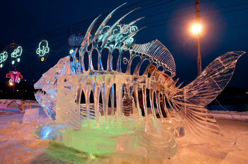 "1342595 Russia, Krasnoyarsk. 01/17/2013 Sculptures in the first international festival-competition of ice sculpture ""Magic Ice of Siberia"" in Krasnoyarsk. Aleksandr Paniotov/RIA Novosti"