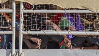 ITALY, Pozallo: Migrants disembark at Pozzallo harbor, Italy, after being rescued by MOAS (Migrant offshore aid station), on July 11, 2016. - Danilo Campailla
