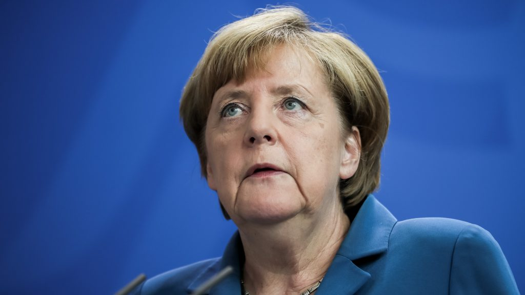 German Chancellor Angela Merkel (CDU) makes a statement on the shootings in Munich at the federal chancellery in Berlin,Germany, 23 July 2016. An 18-year-old German-Iranian had killed nine people and himself in Munich on Friday evening. The background and motive of the attack remain unclear. Photo: Michael Kappeler/dpa