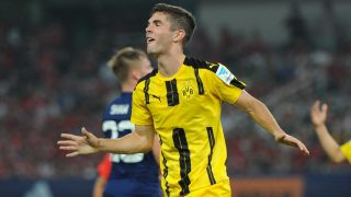 Christian Pulisic of Borussia Dortmund reacts after missing a goal against Manchester United during the Shanghai match of the 2016 International Champions Cup China in Shanghai, China, 22 July 2016.  Borussia Dortmund defeated Manchester United 4-1.
