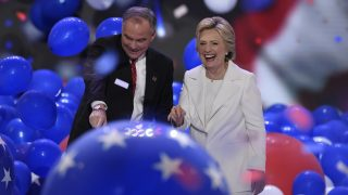 Balloons descend as Democratic presidential nominee Hillary Clinton and running mate Tim Kaine celebrate on the fourth and final night of the Democratic National Convention at Wells Fargo Center on July 28, 2016 in Philadelphia, Pennsylvania.   / AFP PHOTO / SAUL LOEB