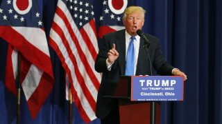CINCINNATI, OH- JULY 6: Republican Presidential candidate Donald Trump addresses the crowd during a campaign rally at the Sharonville Convention Center July 6, 2016, in Cincinnati, Ohio. Trump is campaigning in Ohio ahead of the Republican National Convention in Cleveland next week.   John Sommers II/Getty Images/AFP / AFP PHOTO / GETTY IMAGES NORTH AMERICA / John Sommers II