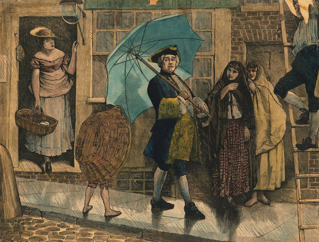 Citizens Observing Jonas Hanway with Newly Invented Umbrella