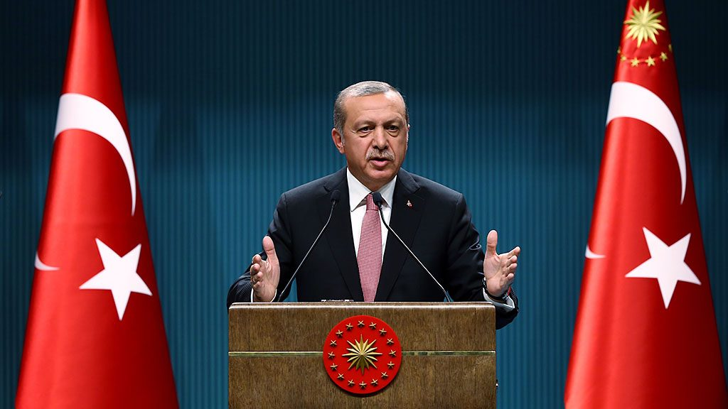 ANKARA, TURKEY - JULY 21: Turkish President Recep Tayyip Erdogan delivers a speech during a press conference after the National Security Council and Cabinet meetings at the Presidential Complex in Ankara, Turkey on July 21, 2016.  (Photo by Kayhan Ozer/Anadolu Agency/Getty Images)