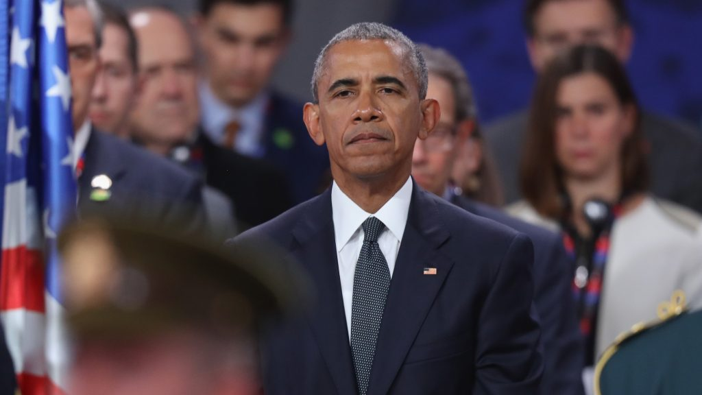 WARSAW, POLAND - JULY 08:  U.S. President Barack Obama observes a ceremony to honour NATO soldiers killed in the line of duty prior to the meeting of the North Atlantic Council at the Warsaw NATO Summit on July 8, 2016 in Warsaw, Poland. NATO member heads of state, foreign ministers and defense ministers are gathering for a two-day summit beginning today.  (Photo by Sean Gallup/Getty Images)
