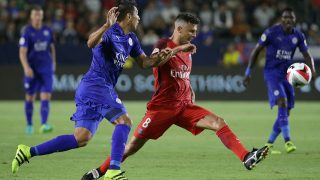 CARSON, CA - JULY 30: Thiago Motta #8 of Paris Saint-Germain clears the ball away from Leo Ulloa #23 of Leicester City in the first half during the 2016 International Champions Cup at StubHub Center on July 30, 2016 in Carson, California. Paris Saint-Germain defeated Leicester City 4-0.   Jeff Gross/Getty Images/AFP / AFP PHOTO / GETTY IMAGES NORTH AMERICA / JEFF GROSS