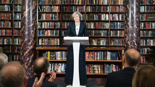 LONDON, ENGLAND - JUNE 30:  Home Secretary Theresa May, launches her bid for the Conservative Party leadership on June 30, 2016 in London,England.Nominations for MP s to declare their intention to run for the Conservative Party Leadership and therefore British Prime Minister will close by noon today.  The current Prime Minister and party leader, David Cameron, announced his resignation the day after the UK voted to leave the European Union.  (Photo by Jeff J Mitchell/Getty Images)