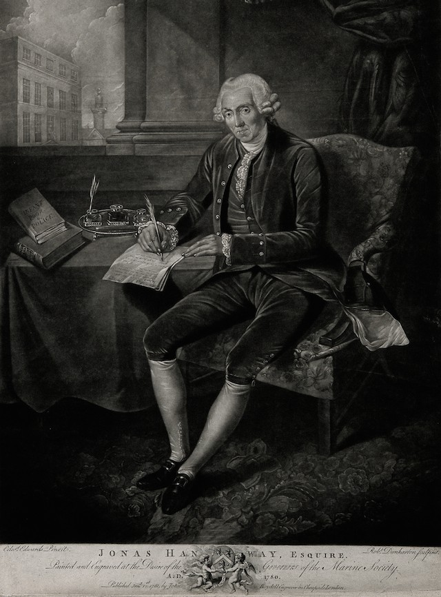 V0006518 Jonas Hanway. Mezzotint by R. Dunkarton, 1781, after E. Edwa