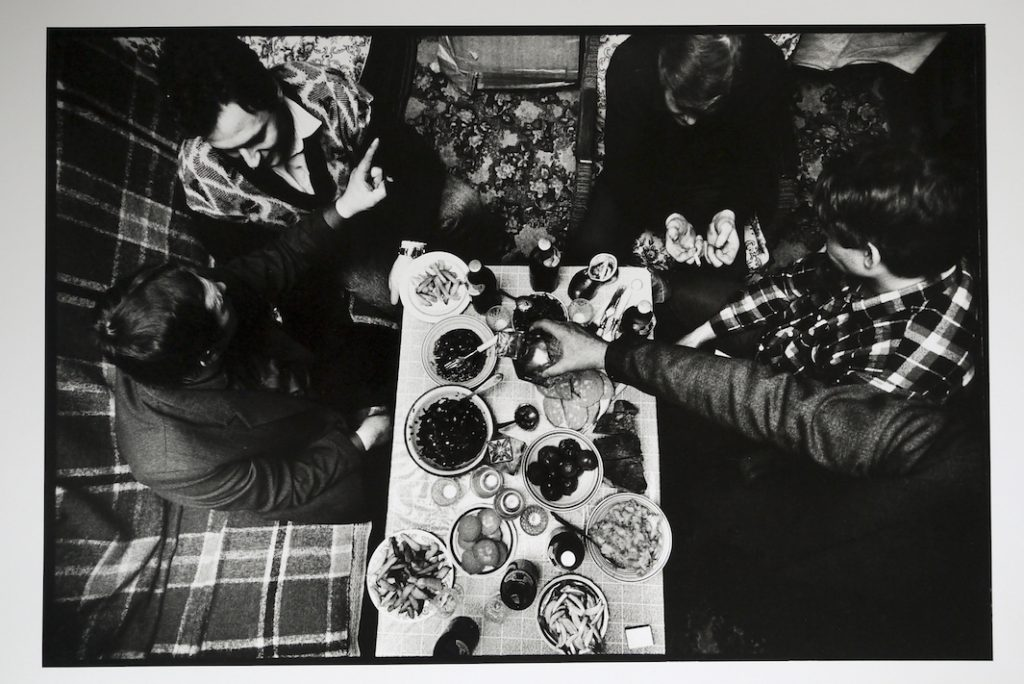 Miners drinking and dinning after a shift at the 'Socialist Dombas' coal mine around at Victor and Katya's old flat.