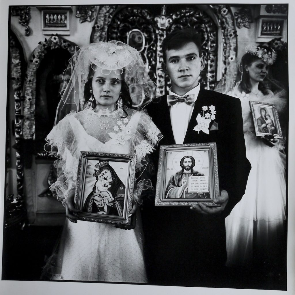 Irina Slakar and Demitri at the local Russian orthodox church on their wedding day.