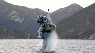"""This picture released from North Korea's official Korean Central News Agency (KCNA) on April 24, 2016 shows the underwater test-fire of a strategic submarine ballistic missile at an undisclosed location in North Korea on April 23, 2016.North Korean leader Kim Jong-Un hailed a submarine-launched ballistic missile (SLBM) test as an """"eye-opening success"""", state media said on April 24, declaring Pyongyang has the ability to strike Seoul and the US whenever it pleases. / AFP PHOTO / KCNA VIA KNS / KCNA /  - South Korea OUT / REPUBLIC OF KOREA OUT   ---EDITORS NOTE--- RESTRICTED TO EDITORIAL USE - MANDATORY CREDIT """"AFP PHOTO/KCNA VIA KNS"""" - NO MARKETING NO ADVERTISING CAMPAIGNS - DISTRIBUTED AS A SERVICE TO CLIENTSTHIS PICTURE WAS MADE AVAILABLE BY A THIRD PARTY. AFP CAN NOT INDEPENDENTLY VERIFY THE AUTHENTICITY, LOCATION, DATE AND CONTENT OF THIS IMAGE. THIS PHOTO IS DISTRIBUTED EXACTLY AS RECEIVED BY AFP.  /"""