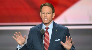 Tony Perkins, President of the Family Research Council, speaks on the last day of the Republican National Convention in Cleveland, Ohio, July 21, 2016. / AFP PHOTO / Jim WATSON