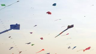 INDIA, Mangaluru: Kites are seen at Panambur beach, Mangaluru, south-east India on January 16, 2016 as the International Kite festival starts.  - CITIZENSIDE/RAMAKRISHNA BHAT