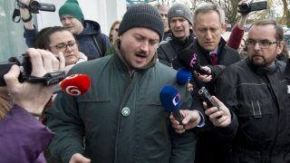 SLOVAKIA, Bratislava: Leader of People's Party Our Slovakia (LSNS) Marian Kotleba speaks with media before TV debate after general elections in Bratislava, Slovakia on March 6, 2016. Party LSNS received support of 8.04 percent in the election.  - CITIZENSIDE/Michal SvĂtok