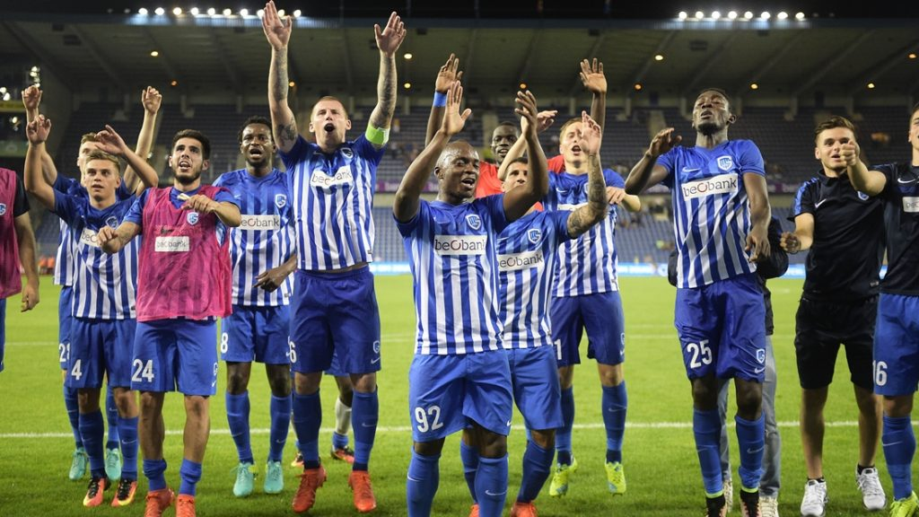 Genk's players celebrate after winning a match between Belgian first league team KRC Genk and Croatian Lokomotiva Zagreb, the return leg of the playoff round in the Europa League competition, in Genk, Thursday 25 August 2016. First leg ended on 2-2 draw result in Croatia. BELGA PHOTO YORICK JANSENS
