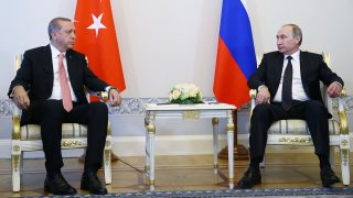 SAINT PETERSBURG, RUSSIA - AUGUST 9 : Turkish President Recep Tayyip Erdogan (L) attends a meeting with Russian President Vladimir Putin (R) in Saint Petersburg, Russia on August 9, 2016. Kayhan Ozer / Anadolu Agency