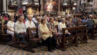 NAPLES, ITALY - JULY 31: Muslims and Christians attend Holy Mass celebration for Father Jacques Hamel, who killed by the attackers who stormed the Catholic church in Sainte Etienne du Rouvray in Rouen, in the Catholic church of Naples cathedral, in Italy on July 31, 2016. Stringer / Anadolu Agency